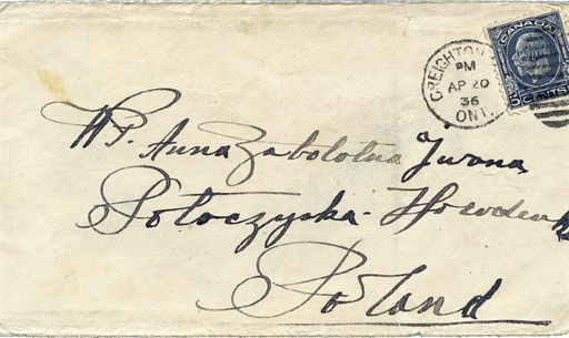 Fig. 91 Envelope from Wasyl Kuryliw to Anna Zabolotna, 20 April 1936